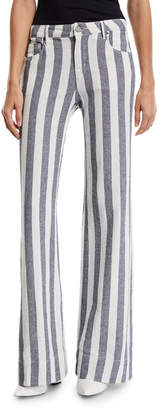 Parker Smith Mid-Rise Striped Denim Palazzo Pants