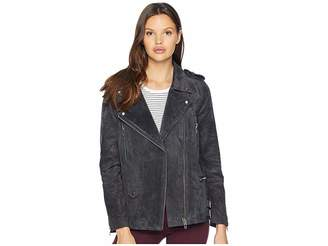Blank NYC Real Suede Moto Jacket in Dark and Stormy