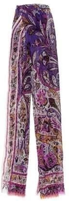 Etro Printed Silk Scarf Purple Printed Silk Scarf