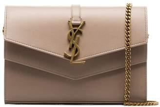 Saint Laurent nude Sulpice envelope leather clutch bag
