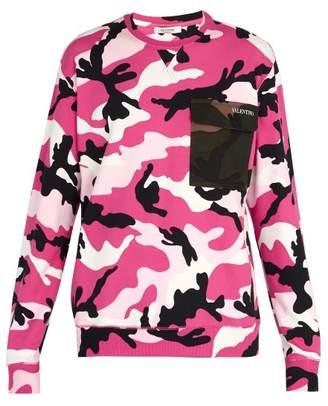 Valentino Camouflage Print Contrast Pocket Sweatshirt - Mens - Pink