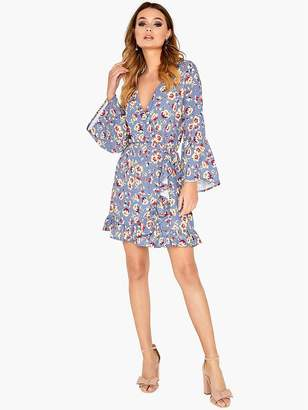 Girls On Film Printed Wrap Dress With Frill Sleeve