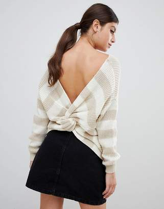 PrettyLittleThing twist back sweater in stripe