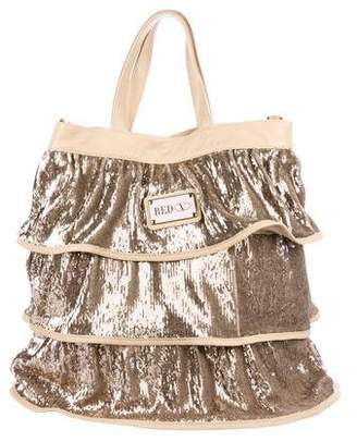 RED Valentino Metallic Sequined Ruffle Tote