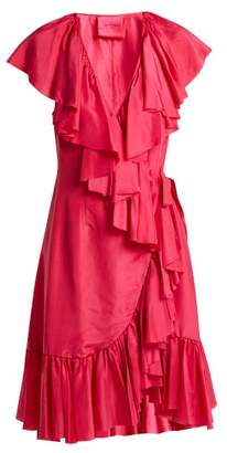 Loup Charmant - Ruffled Silk Wrap Dress - Womens - Fuchsia