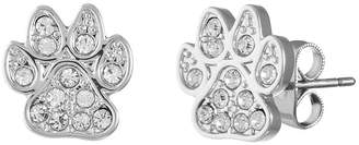 clear SPARKLE ALLURE Sparkle Allure Paw Print Pure Silver Over Brass 11.5mm Stud Earrings