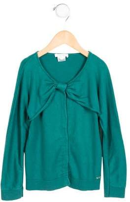 Chloé Girls' Bow-Accented Long Sleeve Cardigan