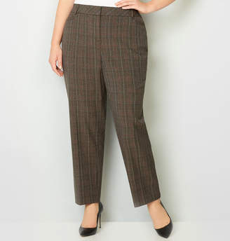 Avenue Taupe Plaid Trouser with Tummy Control