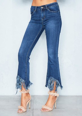 Missy Empire Candice Denim Extreme Fray Hem Jeans