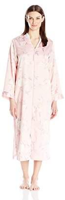 Miss Elaine Women's Brushed Back Satin Long Zip Robe