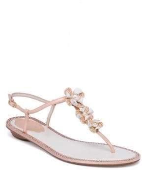 Rene Caovilla Embellished Leather& Snakeskin T-Strap Sandals