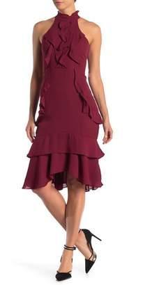 Lumier Lulu Mock Neck Ruffle Midi Dress