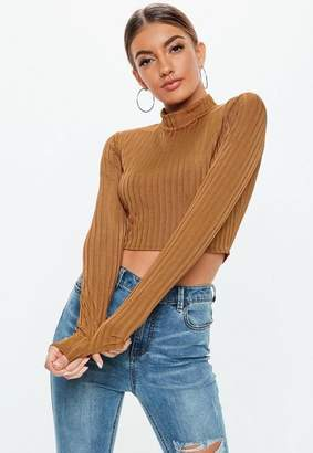Missguided Rust Shiny Ribbed High Neck Crop Top