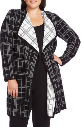 Vince Camuto Plaid Open Front Cardigan