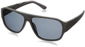 Hang Ten Gold Three Layer Wood HTG1019 C3 Polarized Round Sunglasses