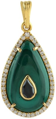 Artisan Pendant Malachite Diamond 18K Yellow Gold Jewelry