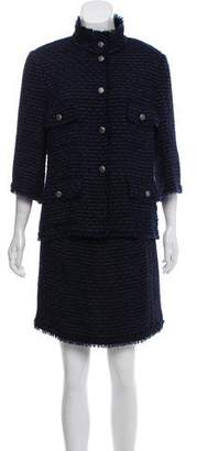 Chanel Fringe-Trimmed Tweed Skirt Suit
