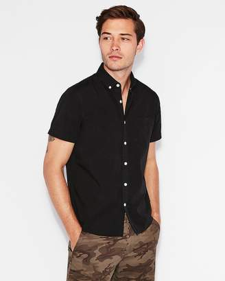 Express Classic Garment Dyed Button-Down Short Sleeve Shirt