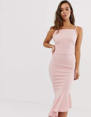 Missguided Asymmetric Hem Scuba Midi Dress