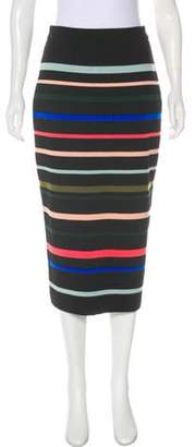 Lela Rose Striped Wool Skirt Black Striped Wool Skirt