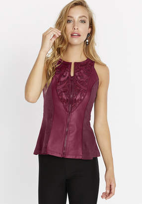 Buffalo David Bitton ZIP FRONT LEATHER SUEDE MIX TOP