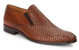 Double Gore Woven Leather Loafers