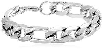 Men's Stainless Steel Accented Thick Figaro Chain Link Bracelet