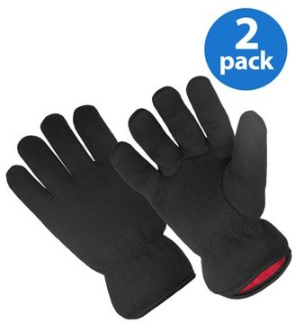 Hands On 2 Pair Value Pack Red Fleece Lined Brown Jersey Glove, Size L