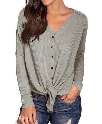 PCEAIIH Womens Waffle Knit Tunic Blouse Tie Knot Henley Tops Loose Fitting Bat Wing Plain Shirts