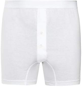 Sunspel Double Button Cotton Jersey Boxer Trunks - Mens - White