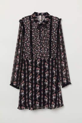 H&M Ruffled Chiffon Dress - Black