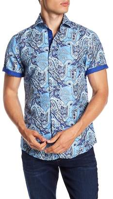BERTO ROMANI Paisley Printed Short Sleeve Slim Fit Shirt