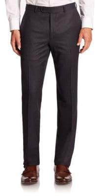 Saks Fifth Avenue Men's COLLECTION Wool Flat-Front Pants - Charcoal - Size 32