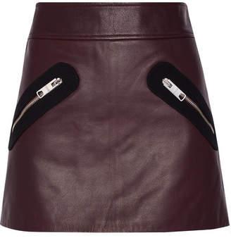 Versace Twill-trimmed Leather Mini Skirt - Burgundy