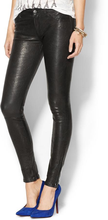 J Brand Super Skinny Leather Jeans W/ Ankle Zip