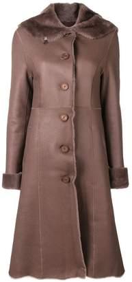 Braun Liska fur trim trench coat