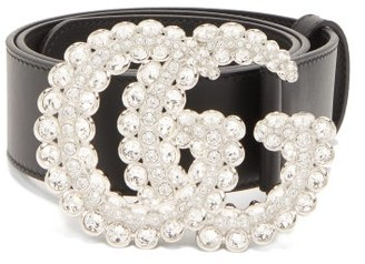 Gucci Crystal Gg Buckle Leather Belt - Womens - Black