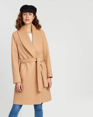 Atmos & Here Audrey Wool Blend Waisted Coat