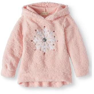 Btween Big Girls' Sequin Snowflake Sherpa Hoodie