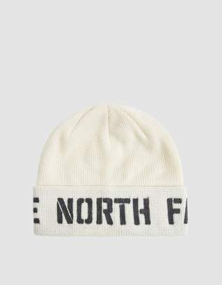 The North Face Black Box Felt Logo Beanie in Vintage White/TNF Black