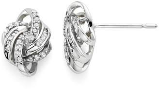 FINE JEWELRY 1/4 CT. T.W. Diamond 10K White Gold Love Knot Earrings