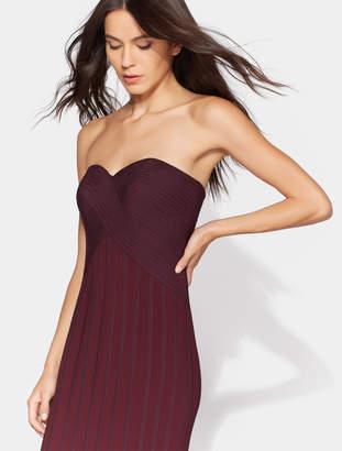 Halston Flowy Satin Strips Gown