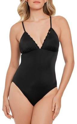 Time and Tru Women's Solid Black Control One Piece Swimsuit