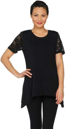 Denim & Co. Short Sleeve Trapeze Top with Lace Sleeves & Yoke