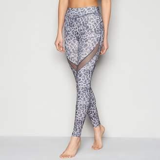 Shock Absorber Grey Mesh Insert Printed Activewear Full Length Legging