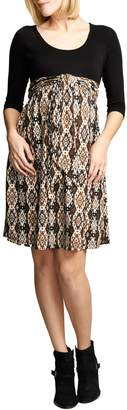 Maternal America Ikat Print Tie Front Dress