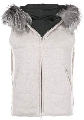 N.Peal fox fur trim gilet