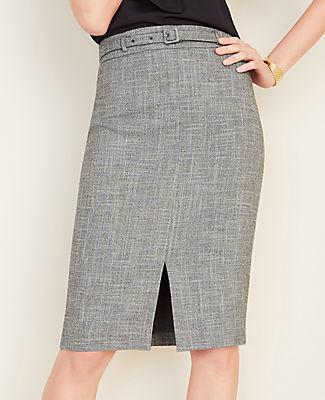Ann Taylor Petite Crosshatch Belted Pencil Skirt