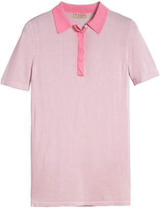 Burberry Contrast Collar Silk Cashmere Polo Shirt