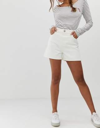 Asos Design DESIGN denim a line mom shorts in off white